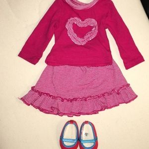 """Girls 18"""" Red Striped Heart Doll Outfit"""
